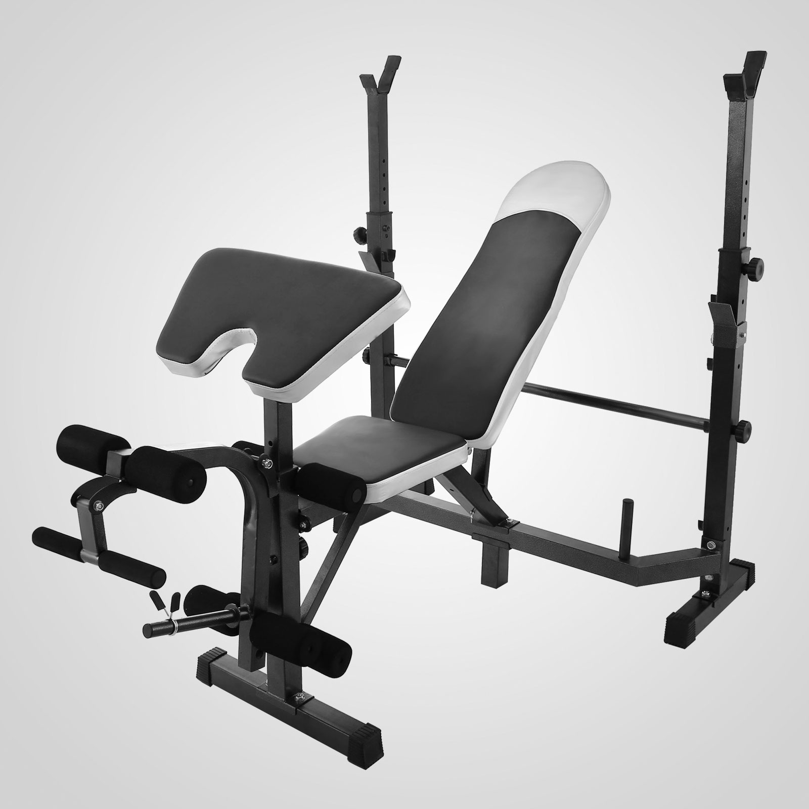 Home Gym Bench Set: Lifting Bench Strength Training Adjustable Rack W/ Weight