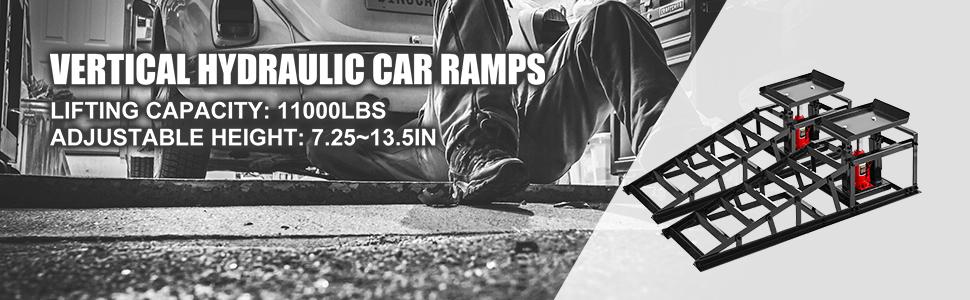 BestEquip Hydraulic Car Ramps 11000lbs Hydraulic Vertical Ramps 5T Low Profile Hydraulic Ramp w//Hydraulic Jack Auto Truck Service Ramp Hydraulic Lift Car Ramps Heavy Duty Steel Car Ramp 1-Pcs Black