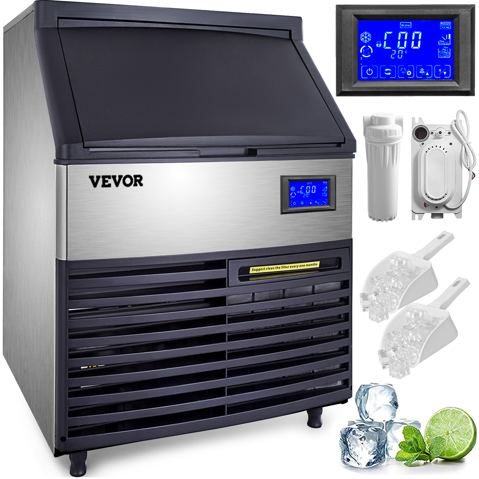 Ice Cube Maker Machine 60Kg//132Lbs Commercial 5*8 Ice Tray One Key Clean 335W