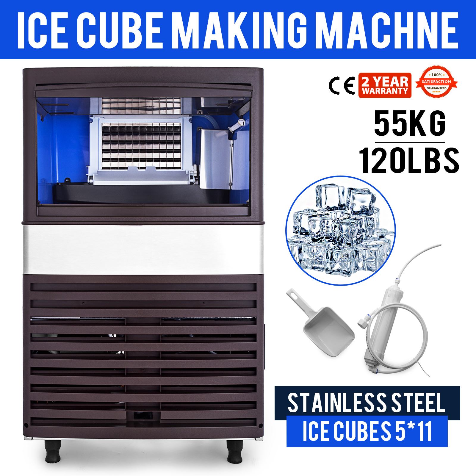 Ice Cube Maker Machine 55Kg//121Lbs Commercial Water Filter Timing Cleaning
