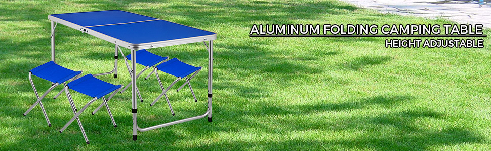Folding Camping Table And 4 Chairs Picnic Set Aluminum