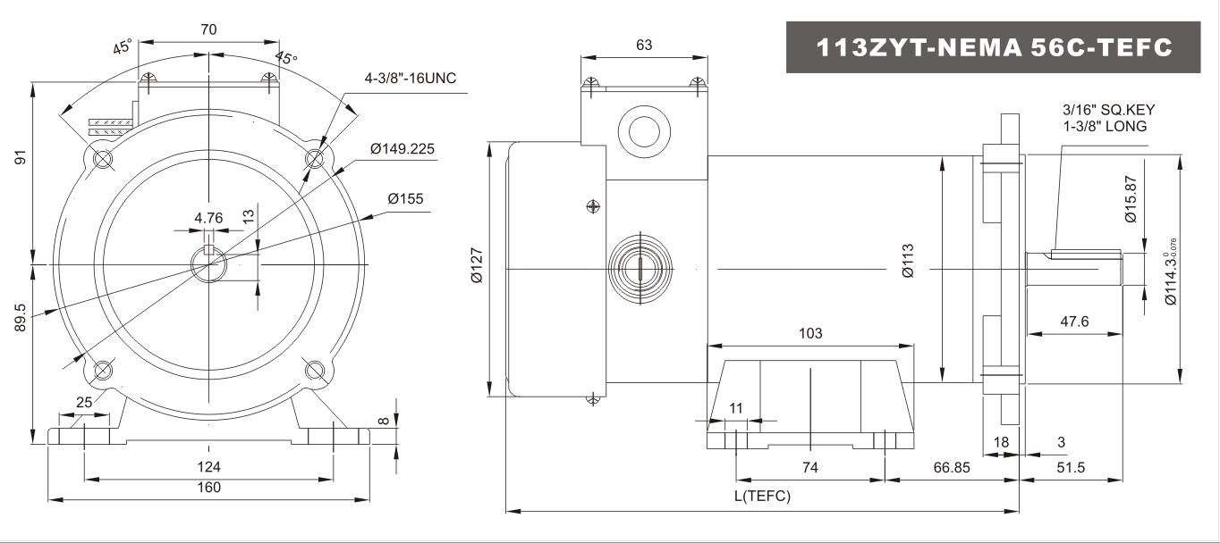 DC MOTOR 1//2HP 56C Frame 90V//1750RPM TENV MAGNET Generally Smooth Dominate