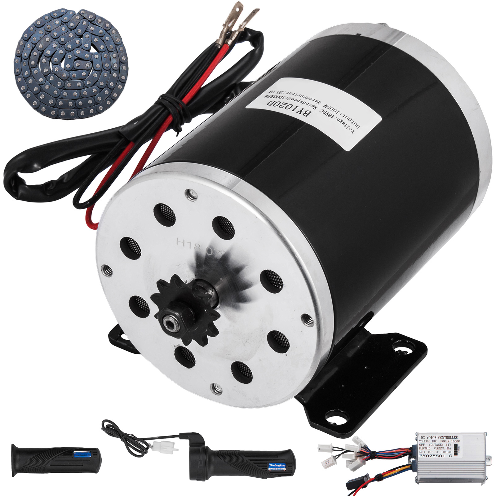 VEVOR Brushed DC Electric Motor 48V 1000W Permanent Magnet with Controller Throttle Chain