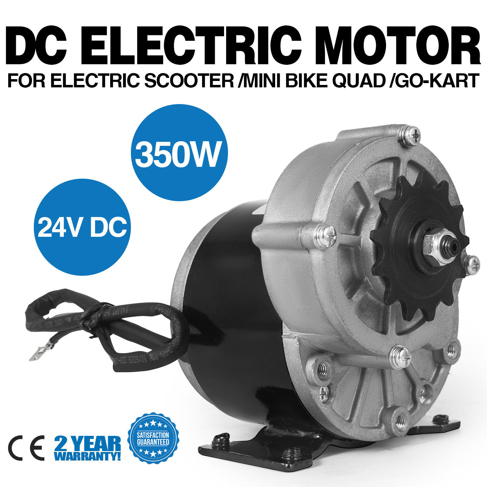 350W DC Electric Motor 24V 3000RPM Gear ratio 9.7:1 Permanent Bicycle E-Scooter