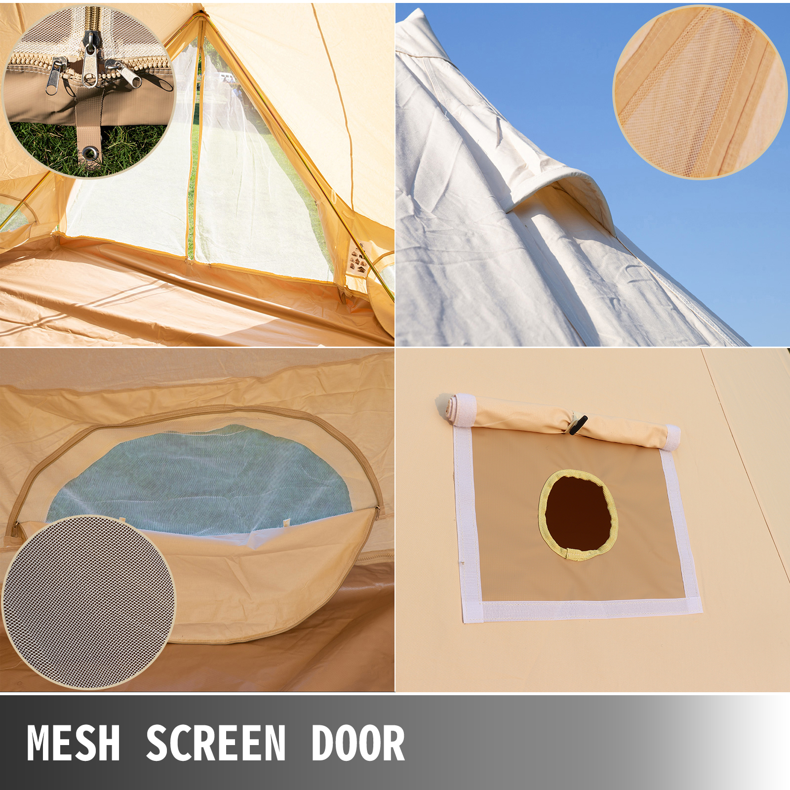 4-Season-Bell-Tent-3-4-5-6M-Waterproof-Cotton-Canvas-Glamping-Camping-Beach-US thumbnail 15