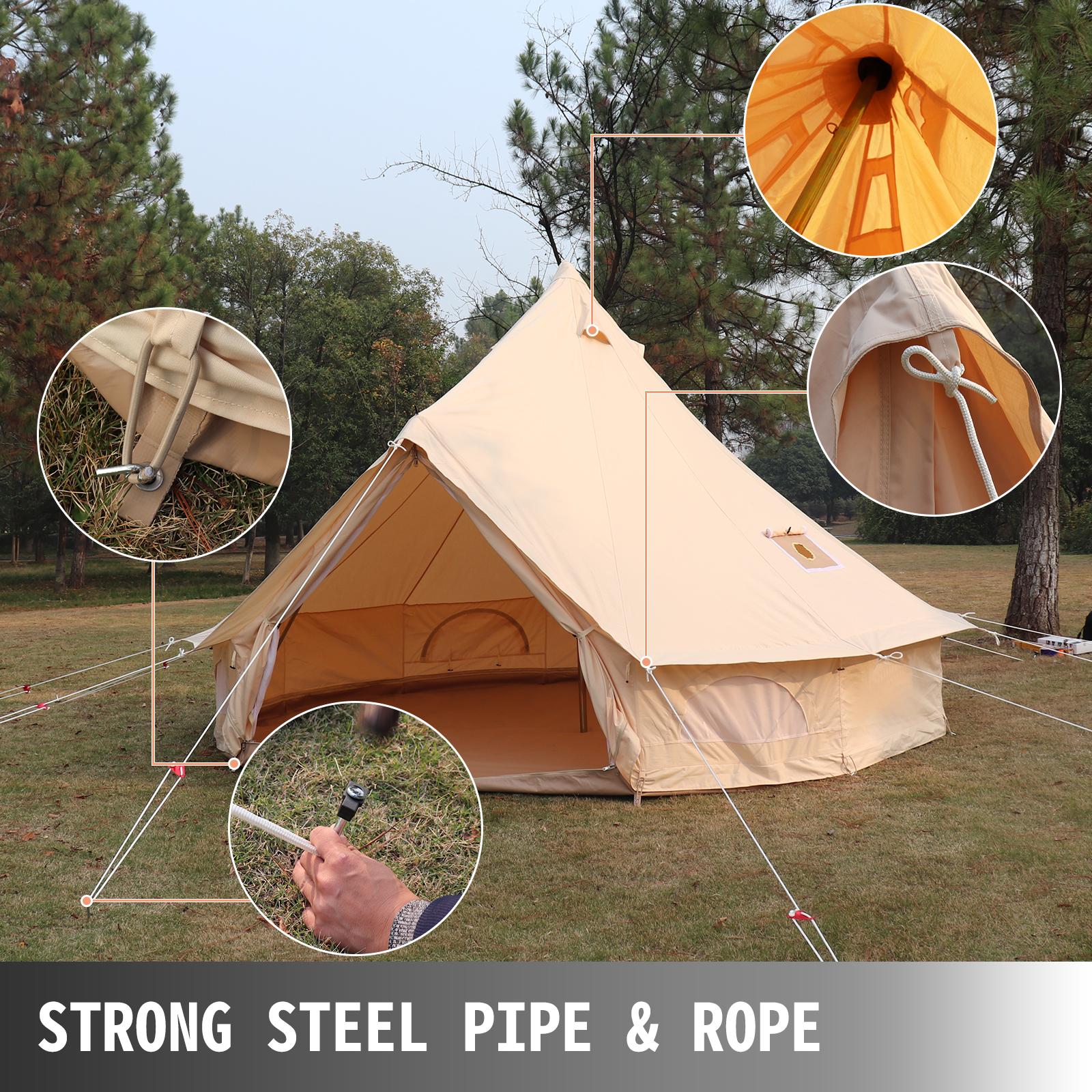 4-Season-Bell-Tent-3-4-5-6M-Waterproof-Cotton-Canvas-Glamping-Camping-Beach-US thumbnail 17