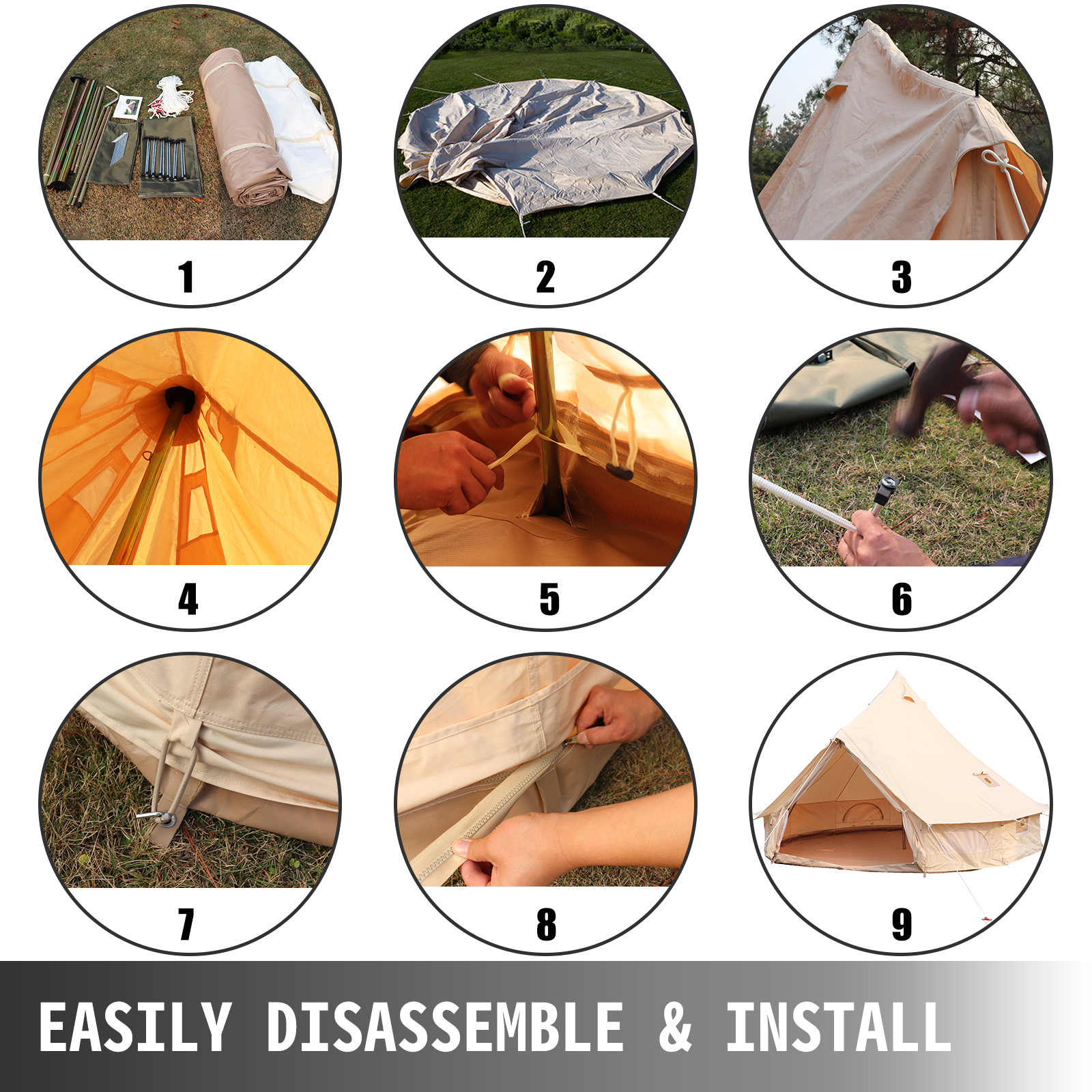 4-Season-Bell-Tent-3-4-5-6M-Waterproof-Cotton-Canvas-Glamping-Camping-Beach-US thumbnail 30