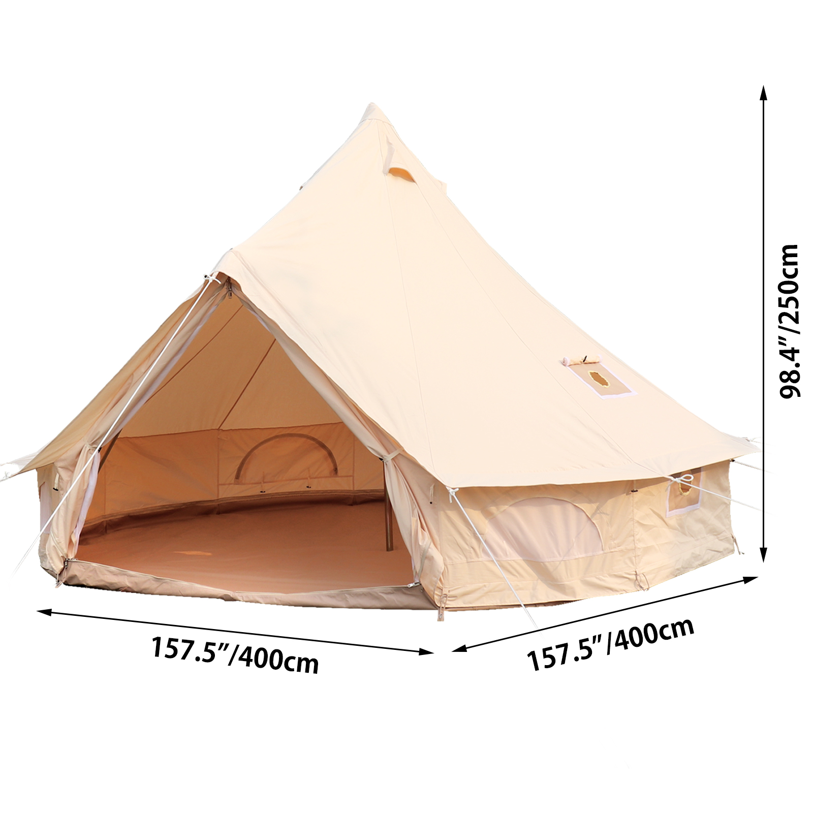 4-Season-Bell-Tent-3-4-5-6M-Waterproof-Cotton-Canvas-Glamping-Camping-Beach-US thumbnail 32