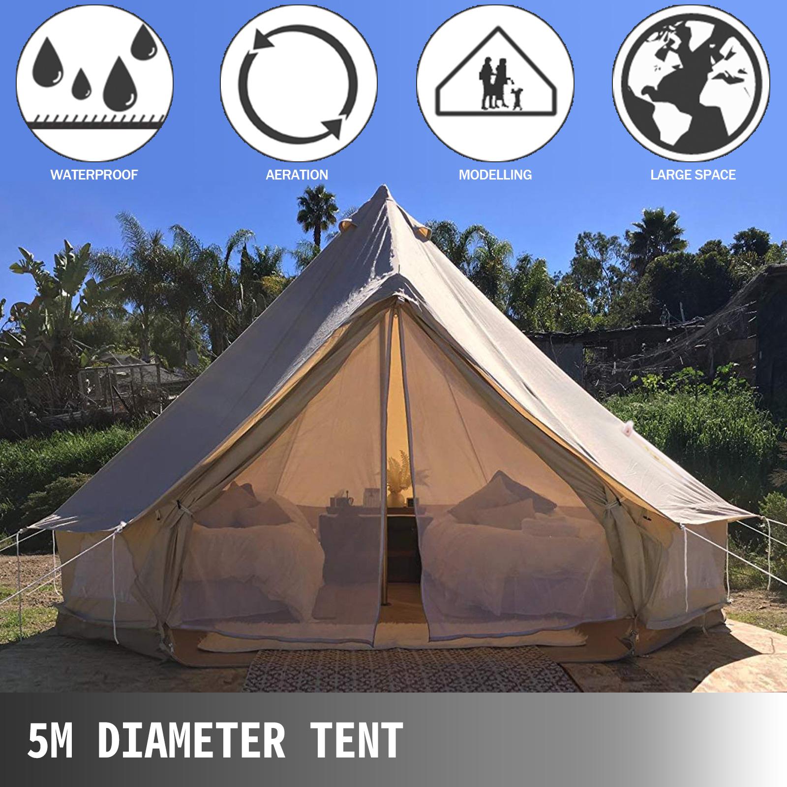 4-Season-Bell-Tent-3-4-5-6M-Waterproof-Cotton-Canvas-Glamping-Camping-Beach-US thumbnail 40