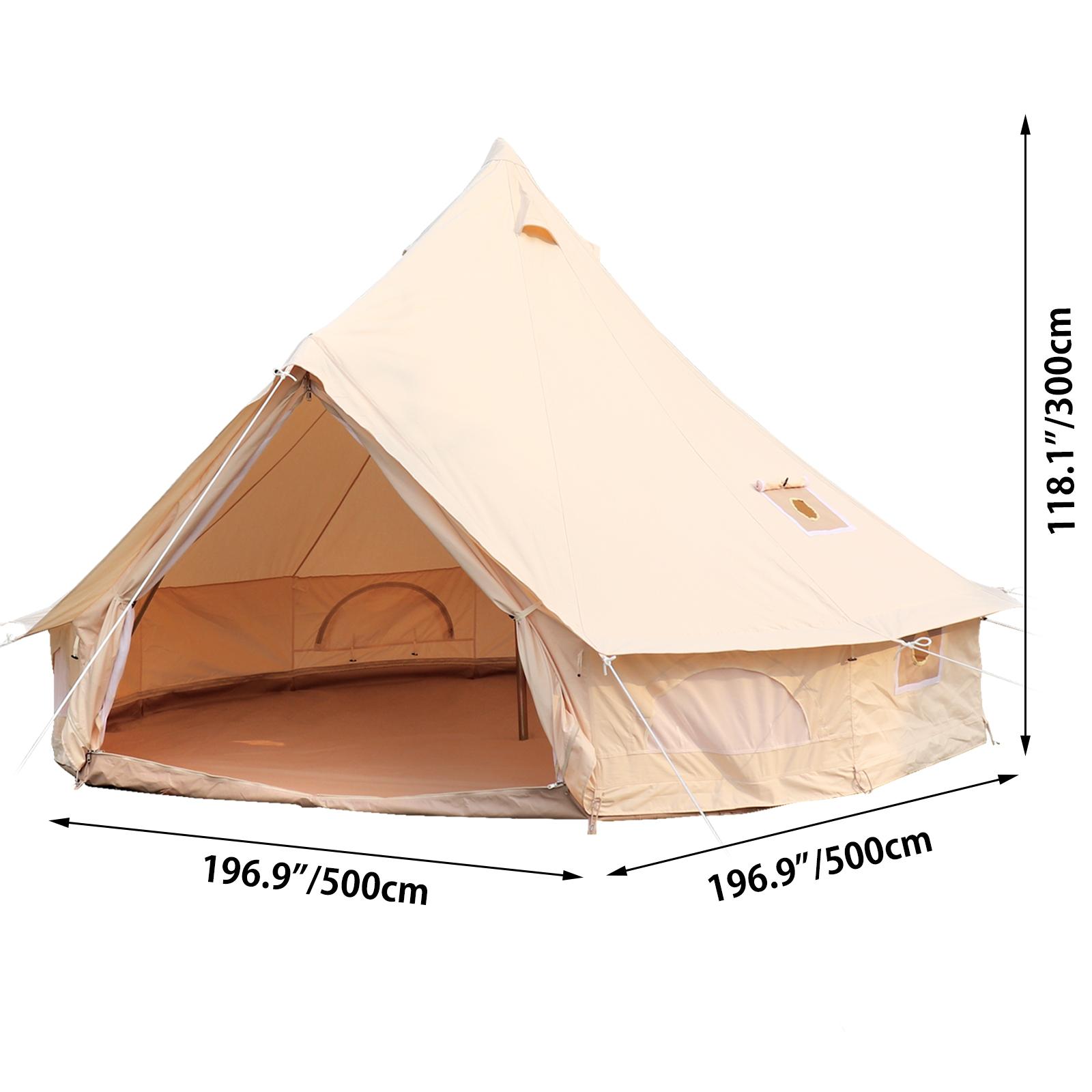 4-Season-Bell-Tent-3-4-5-6M-Waterproof-Cotton-Canvas-Glamping-Camping-Beach-US thumbnail 44