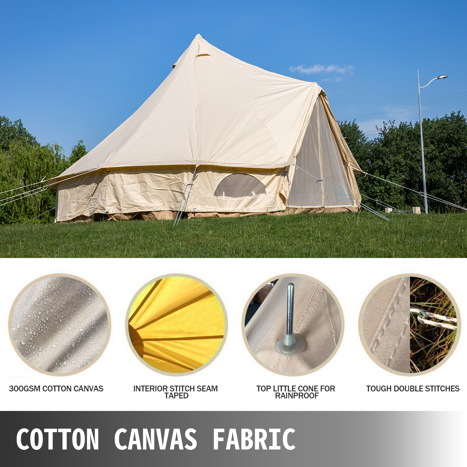 4-Season-Bell-Tent-3-4-5-6M-Waterproof-Cotton-Canvas-Glamping-Camping-Beach-US thumbnail 50