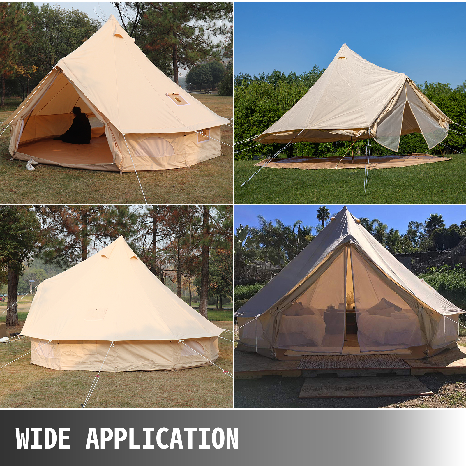 4-Season-Bell-Tent-3-4-5-6M-Waterproof-Cotton-Canvas-Glamping-Camping-Beach-US thumbnail 55