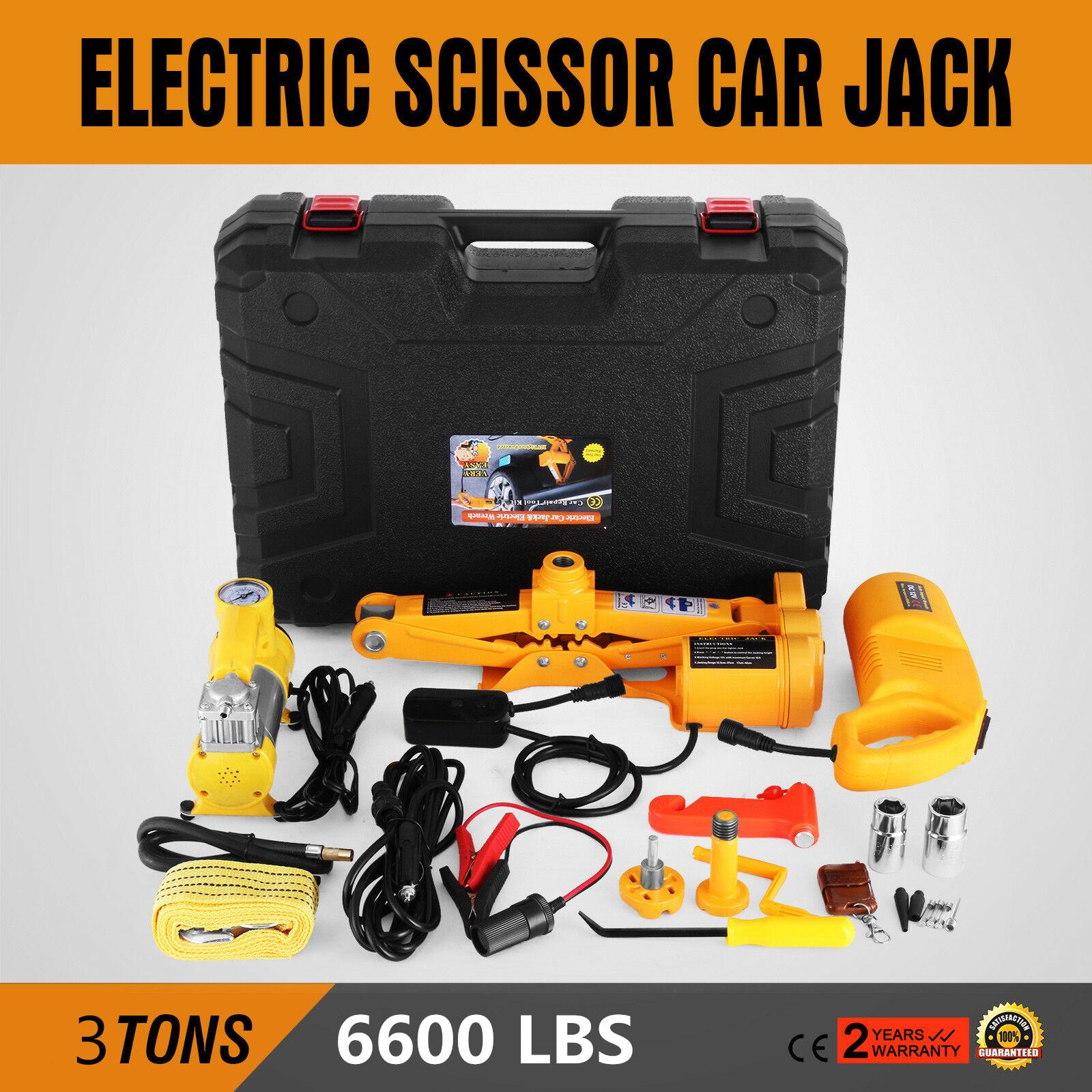 "2.5 Ton Automotive Electric Scissor Car Jack Lift 12V DC Wrench 1//2/"" Impact"
