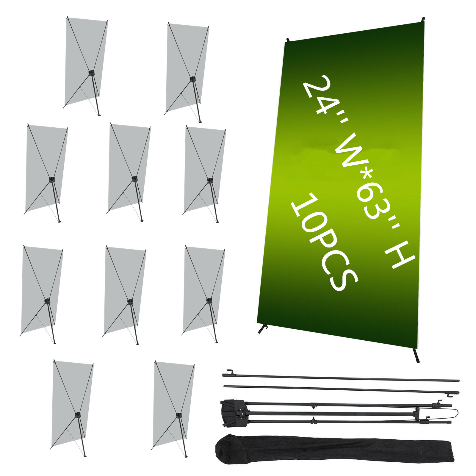 """X Banner Display Stand 24/"""" wide 63/"""" tall travel bag"""