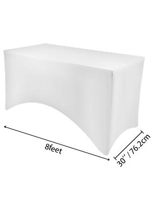 15 Stücke 8FT Stretch Tischdecke Tischhusse Bierzeltgarnitur Waschbar Weiß