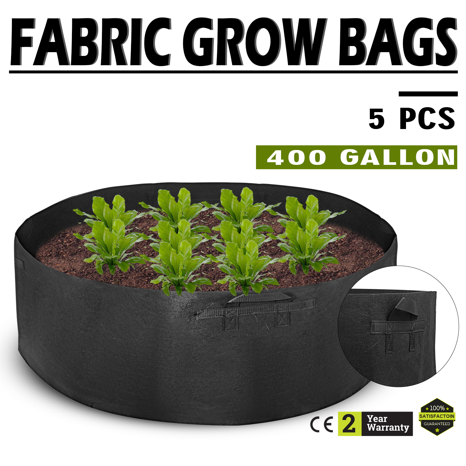 Details About 5pcs 400 Gallon Fabric Grow Bags Black Planter Smart Plant Root Pots Container