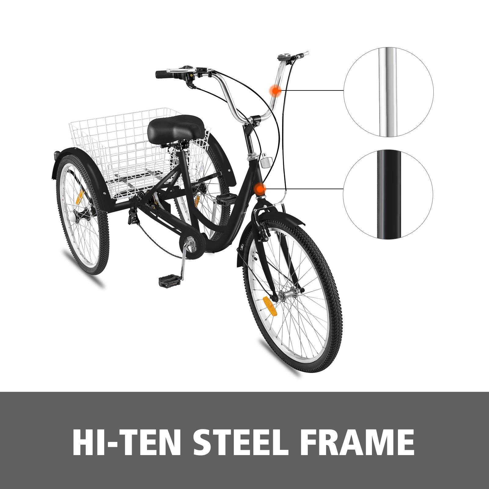 "Adult Tricycle 3-Wheels Trike 24/"" 7-Speed Bike Bicycle Bicycles Shopping Bicycle"