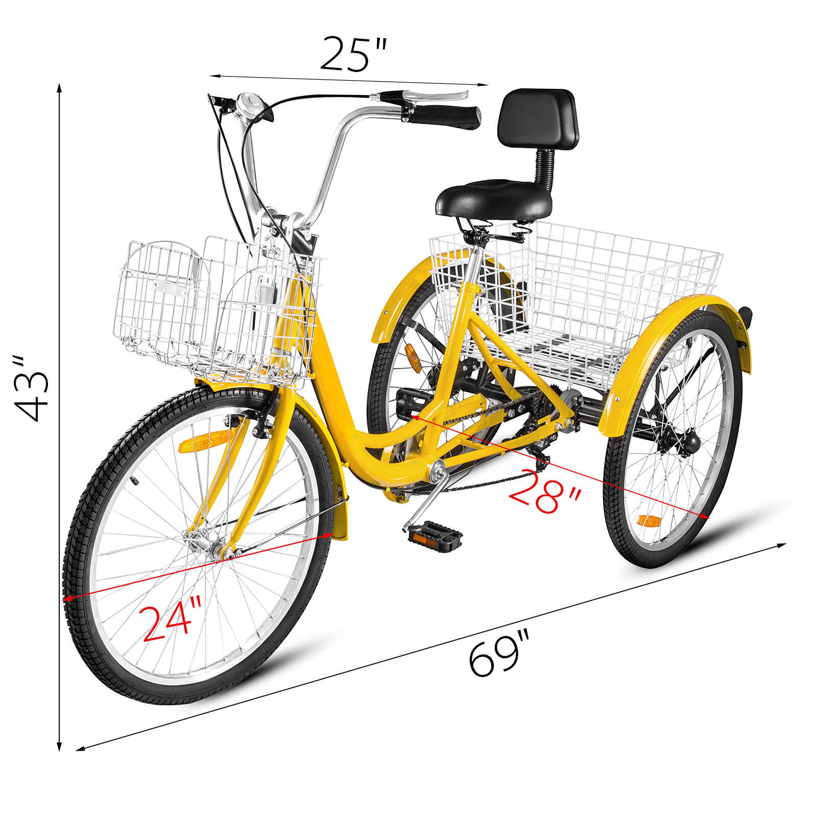 20-24-26-034-Adult-Tricycle-1-7-Speed-3-Wheel-For-Shopping-W-Installation-Tools miniature 380