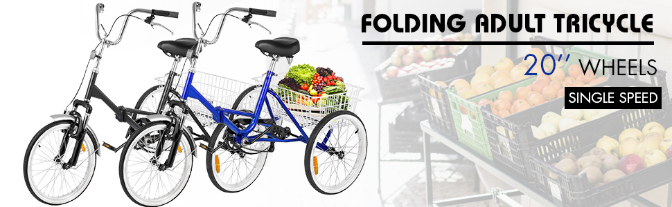 """Folding Adult Tricycle 20/"""" Portable Bike Bicycle 3-wheel Tricycle V-brake HOT"""
