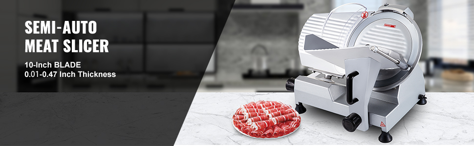 Electric Meat Slicer, Stainless Steel, 0.2-12mm